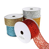 Open Weave Metallic Glitter Tinsel Mesh Christmas Ribbon, 10 Yards