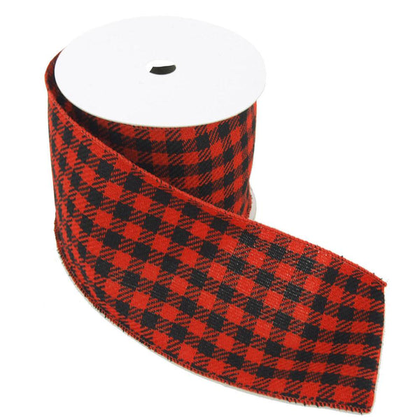 12-Pack, Plaid Checkered Christmas Velvet Wired Ribbon, Red/Black, 4-Inch, 10 Yards