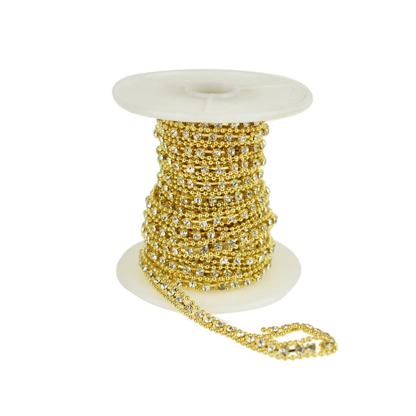 12-Pack, Beaded Edge Diamond Rhinestone Link Roll, Gold, 5mm, 5-Yard
