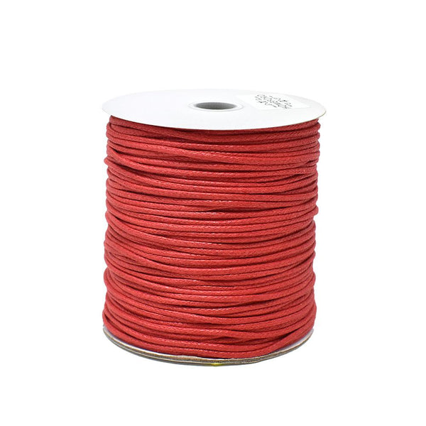 Waxed Cotton Cord, Red, 1/16-Inch, 100-Yard