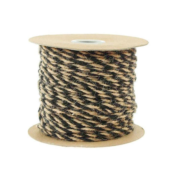 12-Pack, Bi-colored Jute Twine Cord Rope Ribbon, 5/64-inch, 50-yard, Black