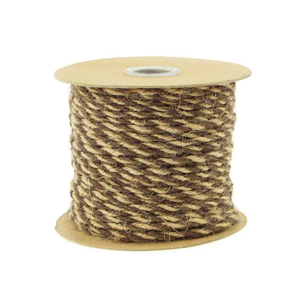 12-Pack, Bi-colored Jute Twine Cord Rope Ribbon, 5/64-inch, 50-yard, Dark Brown