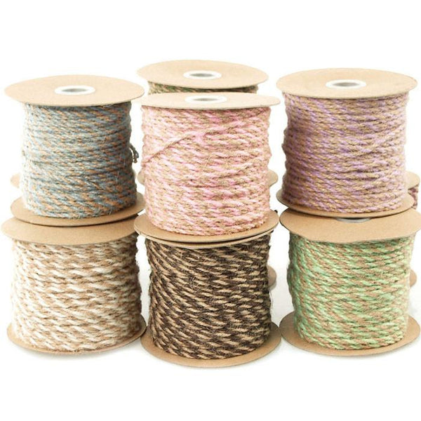 12-Pack, Bi-colored Jute Twine Cord Rope Ribbon, 5/64-inch, 50-yard