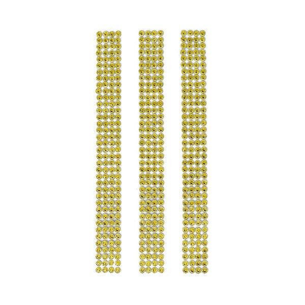 Rhinestone Gems Sticker Strips, Gold, 7-3/4-Inch, 3-Count