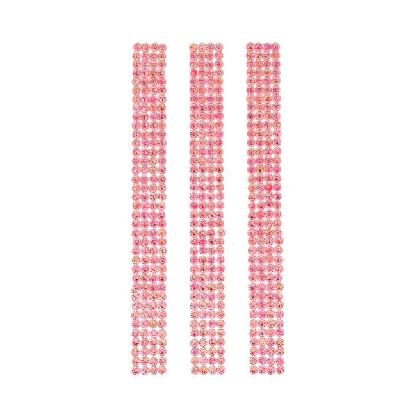 Rhinestone Gems Sticker Strips, Pink, 7-3/4-Inch, 3-Count