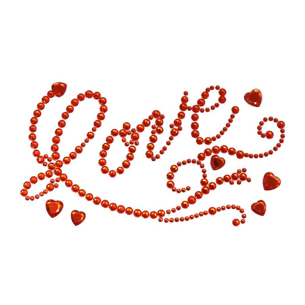 Flourished 'Love' Script and Hearts Rhinestone Stickers, Red, 7-Inch, 6-Piece