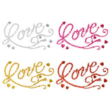 Flourished 'Love' Script and Hearts Rhinestone Stickers, 7-Inch, 6-Piece