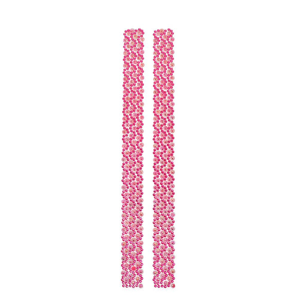 Rhinestone Flowers Sticker Strips, Fuchsia, 11-3/4-Inch, 2-Count