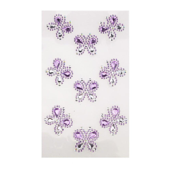 Self Adhesive Butterfly Rhinestone Stickers, 9-count, Lavender