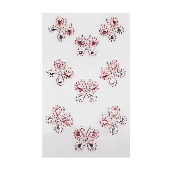 Self Adhesive Butterfly Rhinestone Stickers, 9-count, Pink
