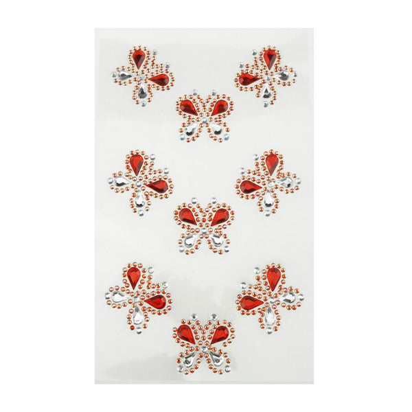 Self Adhesive Butterfly Rhinestone Stickers, 9-count, Red