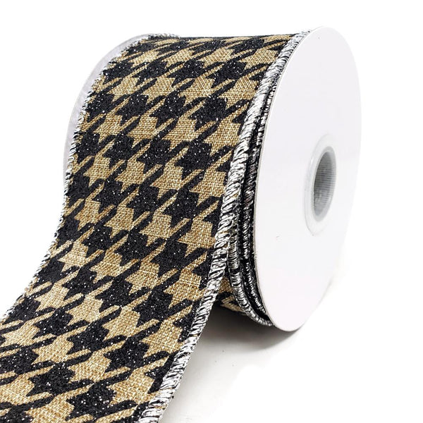 12 Pack, Faux Burlap Glittered Houndstooth Wired Ribbon, 2-1/2-Inch, 10-Yard