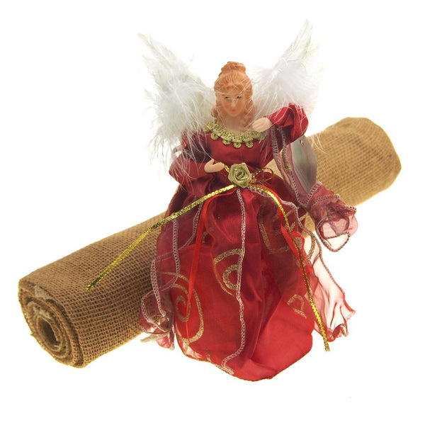 Christmas Tree Skirt Bundle with Angel Tree Topper, Red, 2-Piece Set