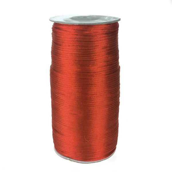 Satin Rattail Cord Chinese Knot, 1/16-Inch, 200 Yards, Red