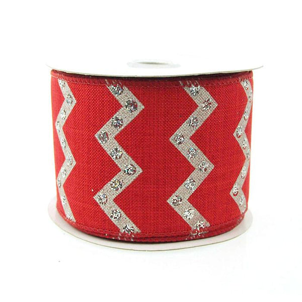 12-Pack, Chevron Glitters Canvas Ribbon, 2-1/2-inch, 10-yard, Red
