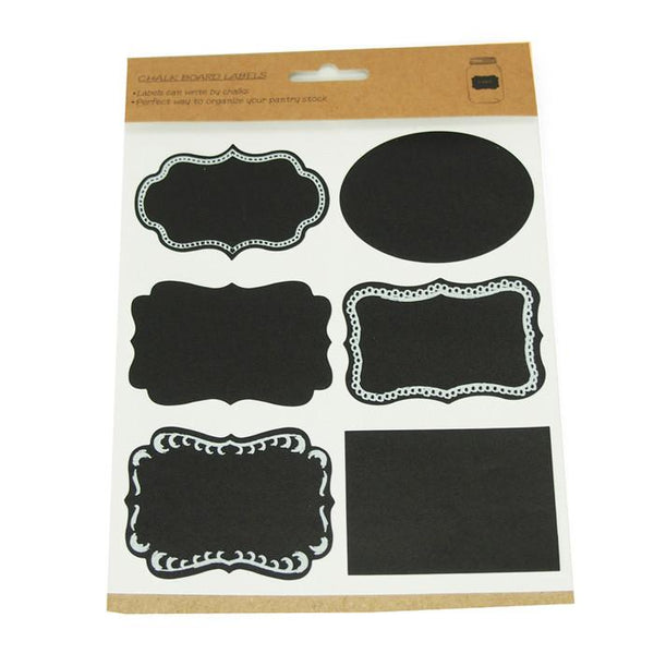 12-Pack, Chalkboard Label Stickers, Assorted Shaped, 3-inch, 24-Piece
