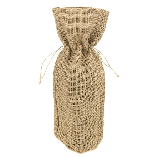 Burlap Wine Bag with Drawstrings, Natural, 15-Inch