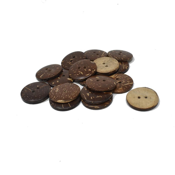 Natural Coconut Buttons, Brown, 1-Inch
