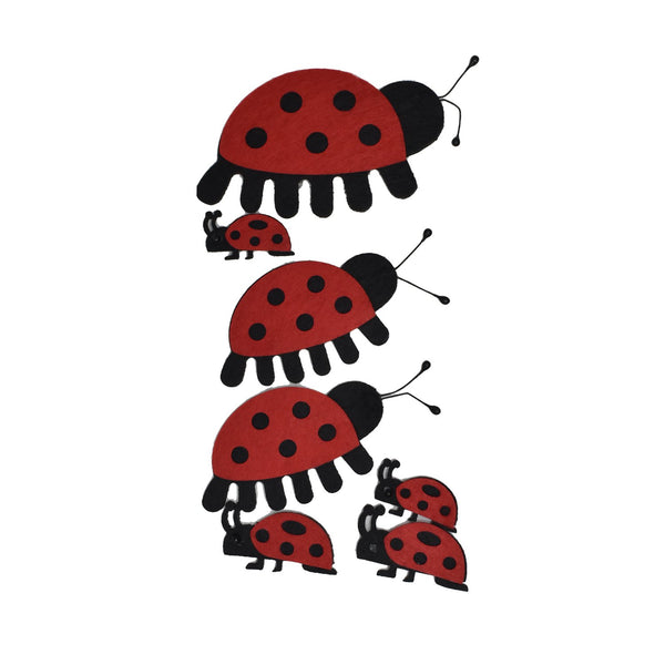 12-Pack, Felt Crawling Lady Bug Die Cut Stickers, Assorted Sizes, 7-Piece