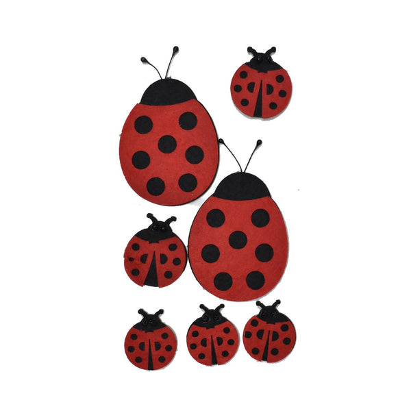 12-Pack, Felt Lady Bug Die Cut Stickers, Assorted Sizes, 7-Piece