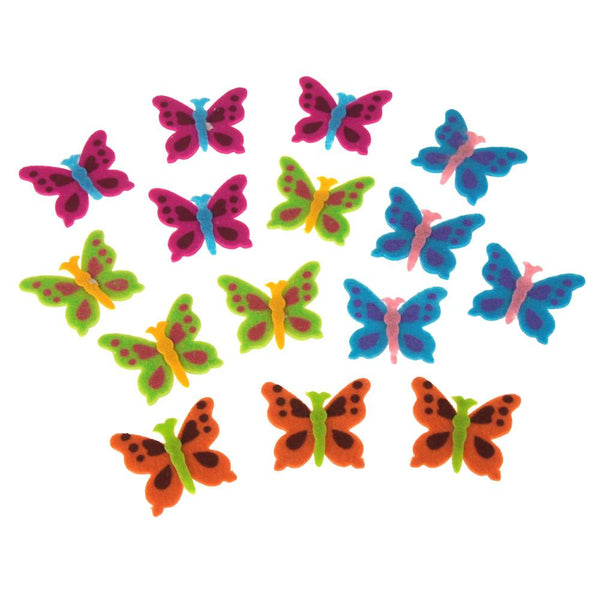 12-Pack, Self-Adhesive Butterflies Felt Die Cuts, 1-3/4-Inch, 15-Count