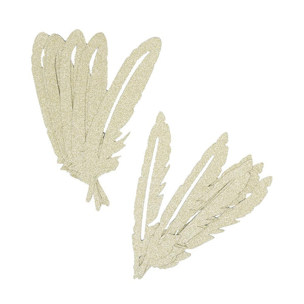 Glitter Paper Feather Embellishments, Assorted, 20-Piece