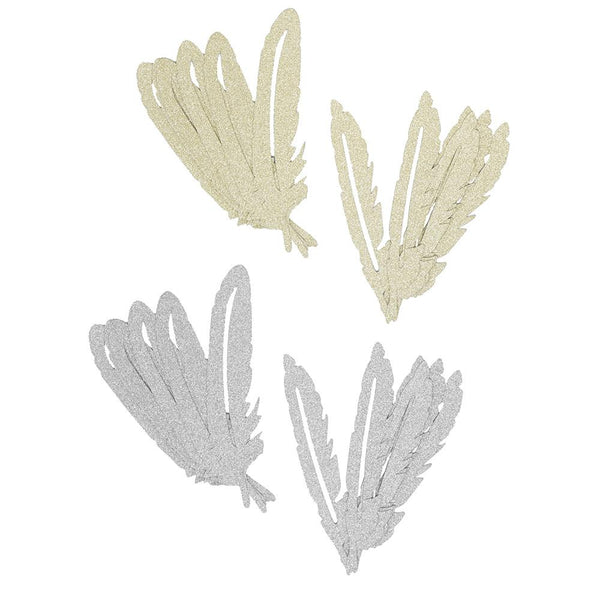 12-Pack, Glitter Paper Feather Embellishments, Assorted, 20-Piece