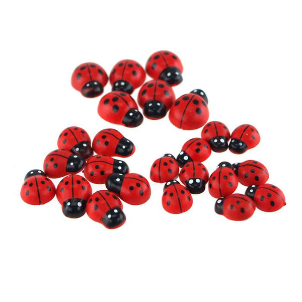 Self Adhesive Lady Bug Plastic Favors, 3 Size, 24-Piece