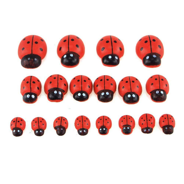 Self Adhesive Lady Bug Wooden Favors, 3 Size, 18-Piece
