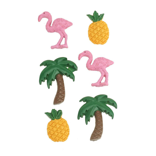3D Resin Self-Adhesive Flamingo Accents, 6-Piece