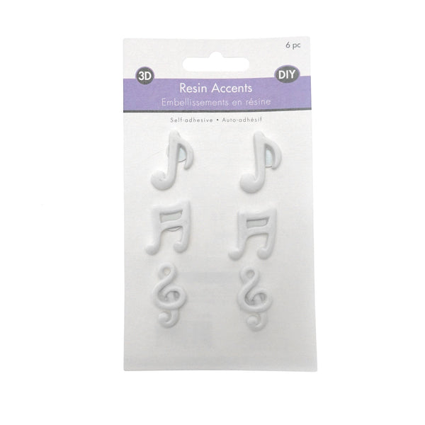 Melody DIY Adhesive Resin Accents, White, 6-Piece