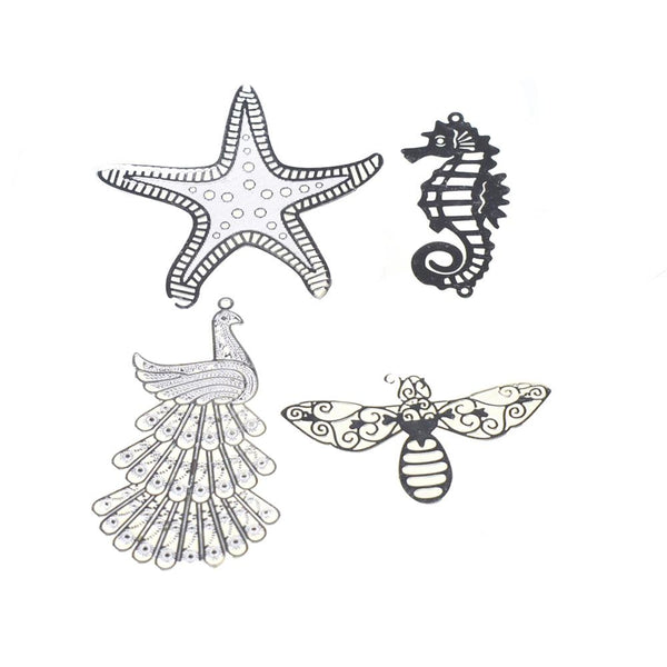 Dainty Creatures Metal Charm Stickers, 4-Piece