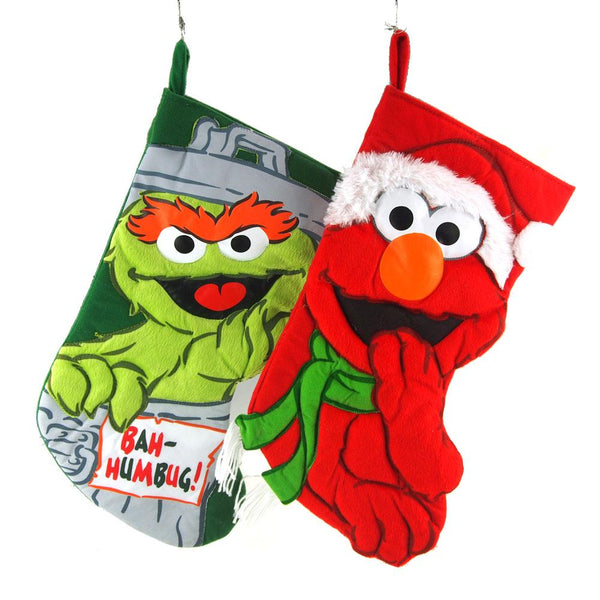 Elmo and Oscar the Grouch Polyester Christmas Stockings, 19-Inch, 2-Piece