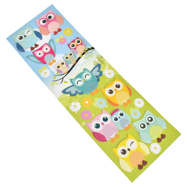 12-Pack, Colorful Owl 3D Fancy Paper Stickers, 16-Piece