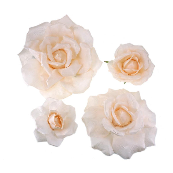 Large Rose Silk Flower, Peach, 4-Piece