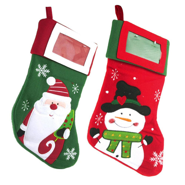 Hanging Christmas Stocking Santa and Snowman, 16-inch, 2 Piece
