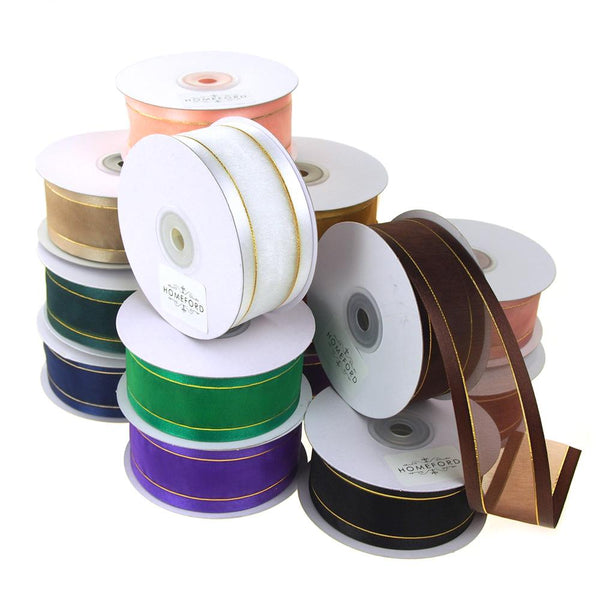 12-Pack, Gold-Lined Satin Edge Organza Ribbon, 1-1/2-Inch, 25-Yard