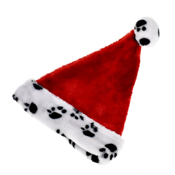 12-Pack, Plush Cuffed Paw Printed Christmas Santa Hat, 15-1/2-Inch