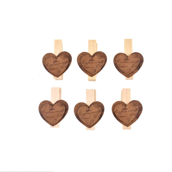 12-Pack, Clothespin with Heart, Natural, 1-1/2-Inch, 6-Count