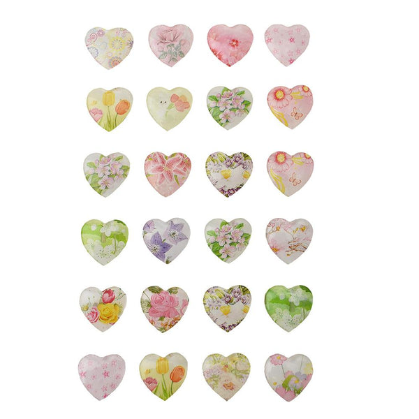 Floral Heart Stone Stickers, 5/8-Inch, 24-Piece