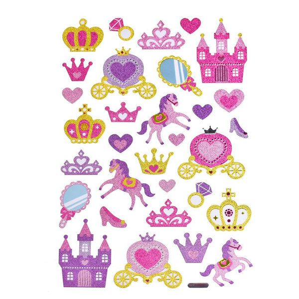 12-Pack, Fairy Tail Princess Glitter Glam Stickers, 31-Piece