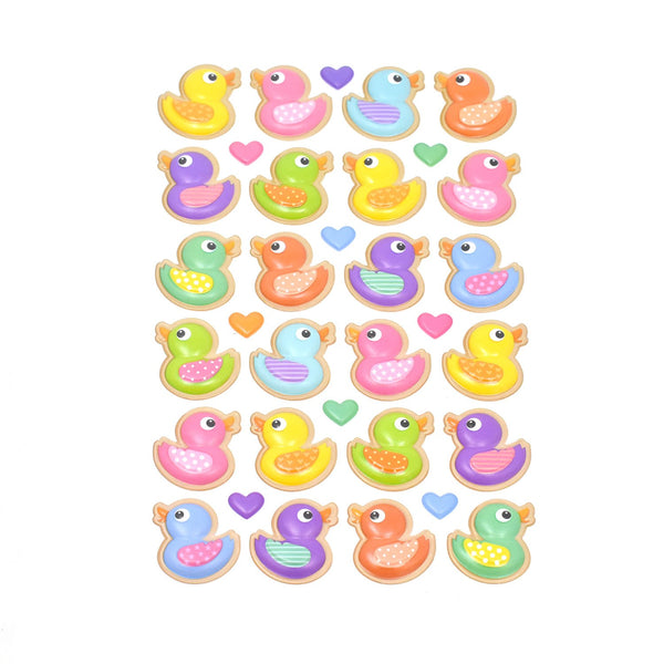 12-Pack, Pastel Rubber Ducky Pop-Up Stickers, 33-Piece