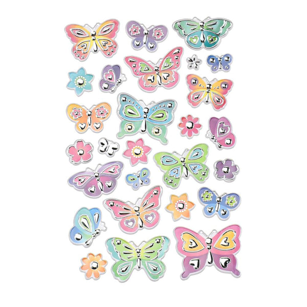 12-Pack, Delicate Butterfly Medley Foil Fun Stickers, 27-Piece