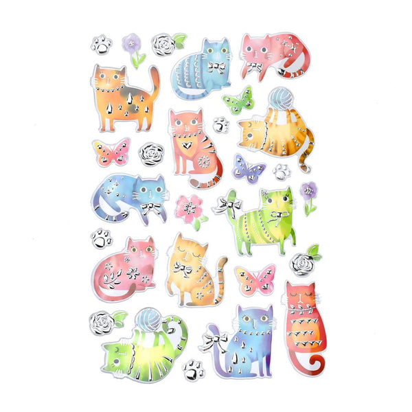 Fuzzy Kitty Foil Fun Stickers, 28-Piece