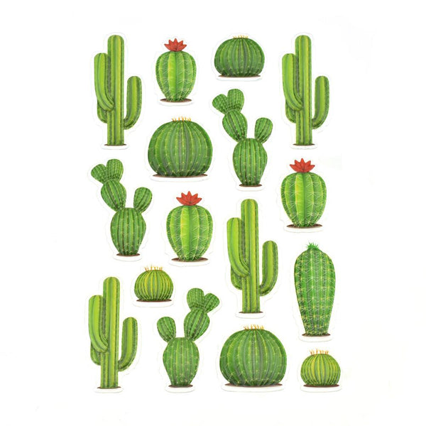 Thorny Cactus 3D Pop-Up Stickers, 16-Piece