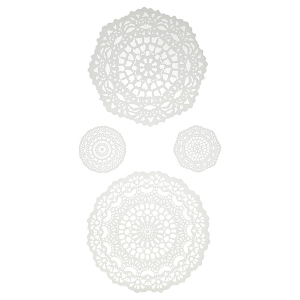 Doily Paper Craft Stickers, White, 4-Piece