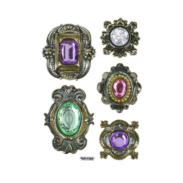 12-Pack, Antique Frame Vintage Style Jewel Stickers, 5-Piece