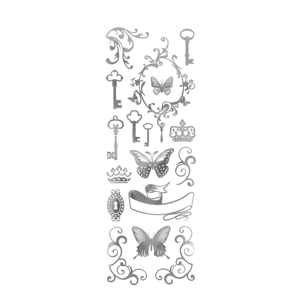 12-Pack, Butterflies and Keys Foil Stickers, Silver, 16-Piece