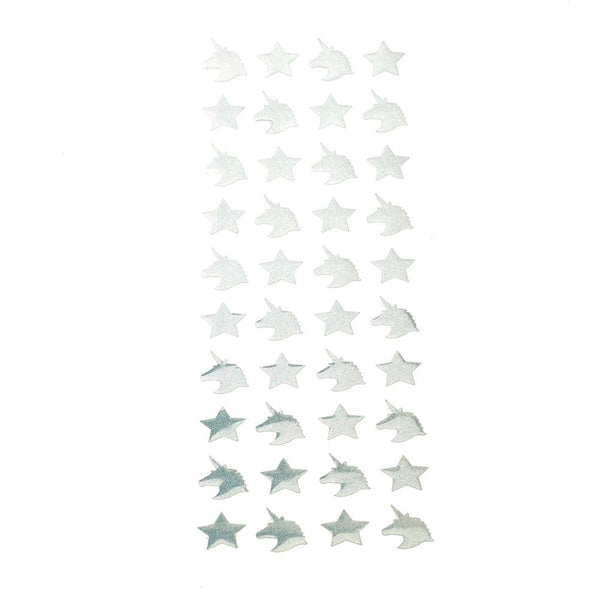 Double Sided Holographic Unicorn and Star Stickers, Silver, 40-Piece