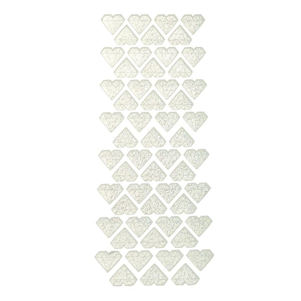 Holographic Heart Diamond Stickers, Silver, 56-Count